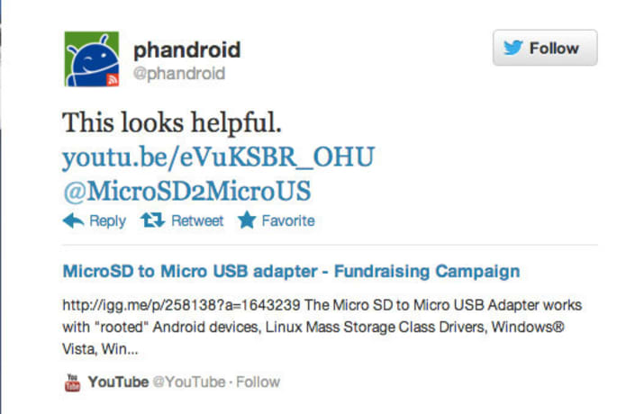 MicroSD to Micro USB Adapter for Nexus or any Android Mobile device